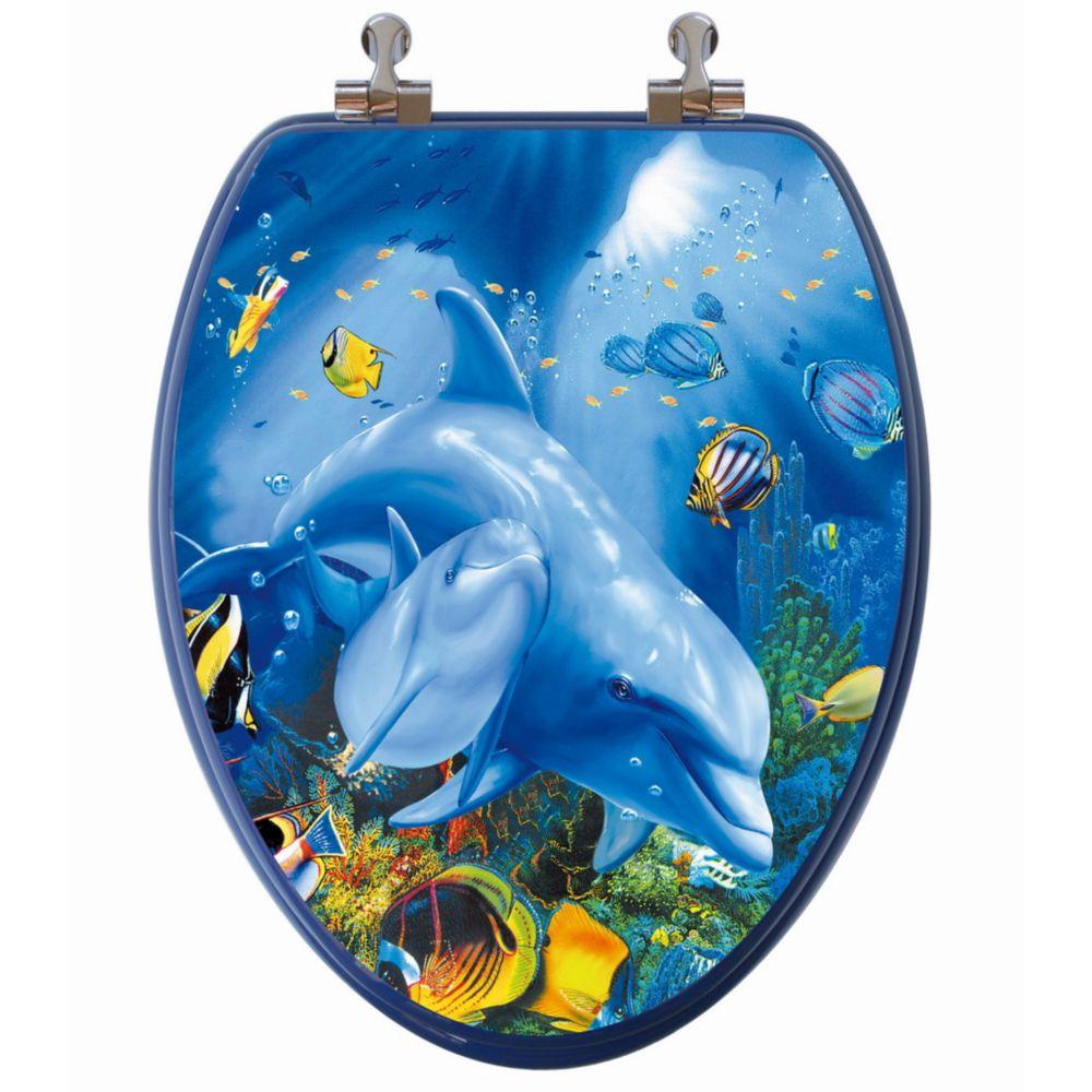Siège de toilette allongée avec image 3D à haute résolution dun dauphin et son petit de TopSeat
