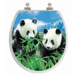Topseat Siège de toilette rond avec image 3D à haute résolution dune famille de pandas de TopSeat