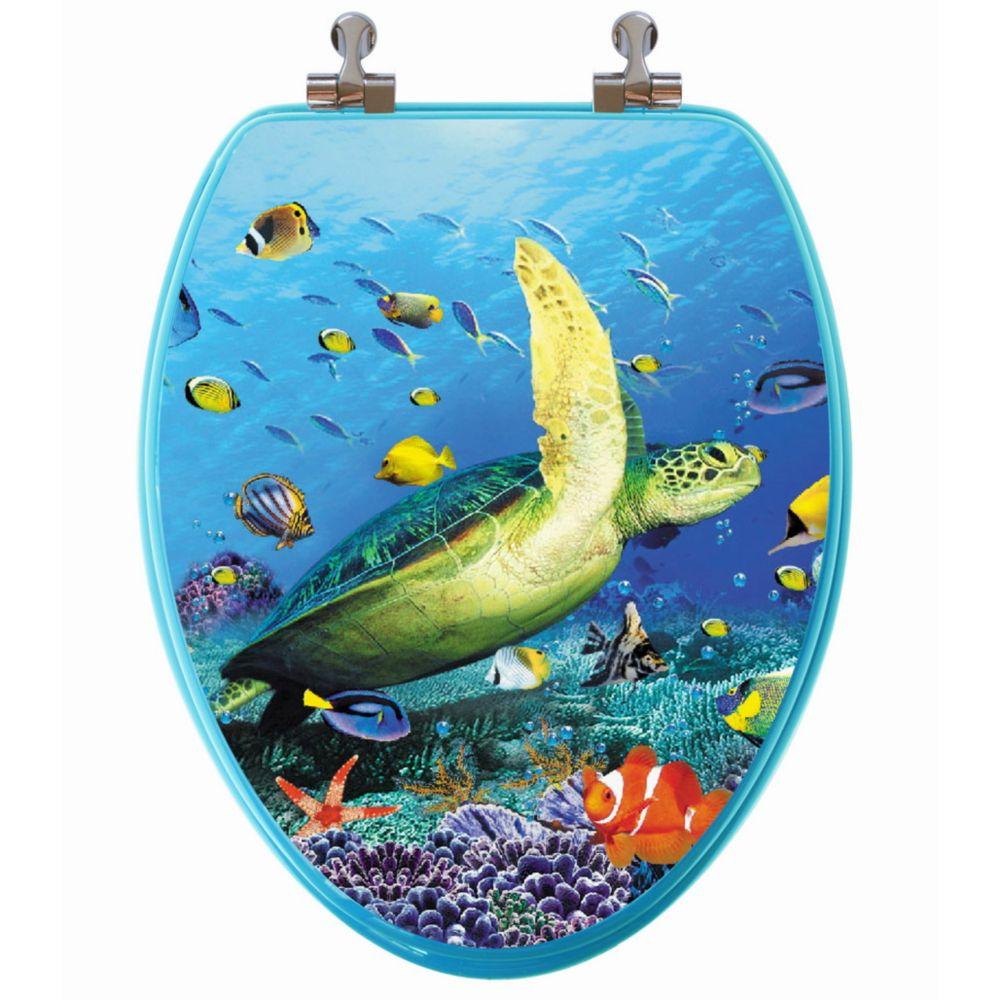 Siège de toilette allongée avec image 3D à haute résolution dune tortue de mer de TopSeat