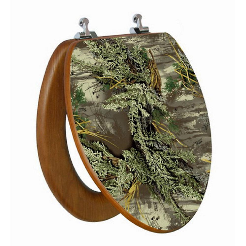 Siège de toilette allongée avec image 3D à haute résolution dun arbre genre camouflage de TopSeat