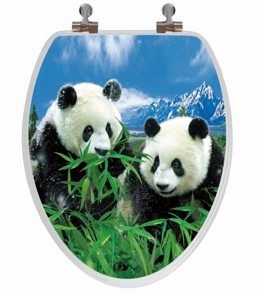 High Res 3D Image Panda Family Elongated, Regular Close. Chromed Metal Hinges
