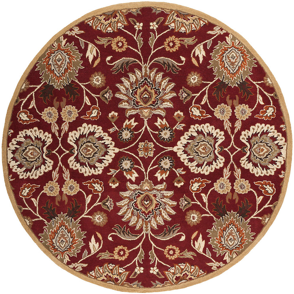 Cambrai Burgundy 4 Feet x 4 Feet Round Indoor Area Rug