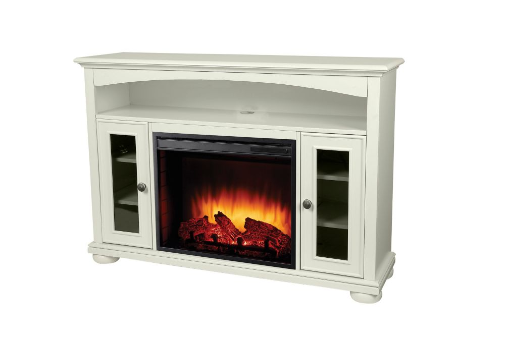 Easton 52 Inch Media Electric Fireplace in White