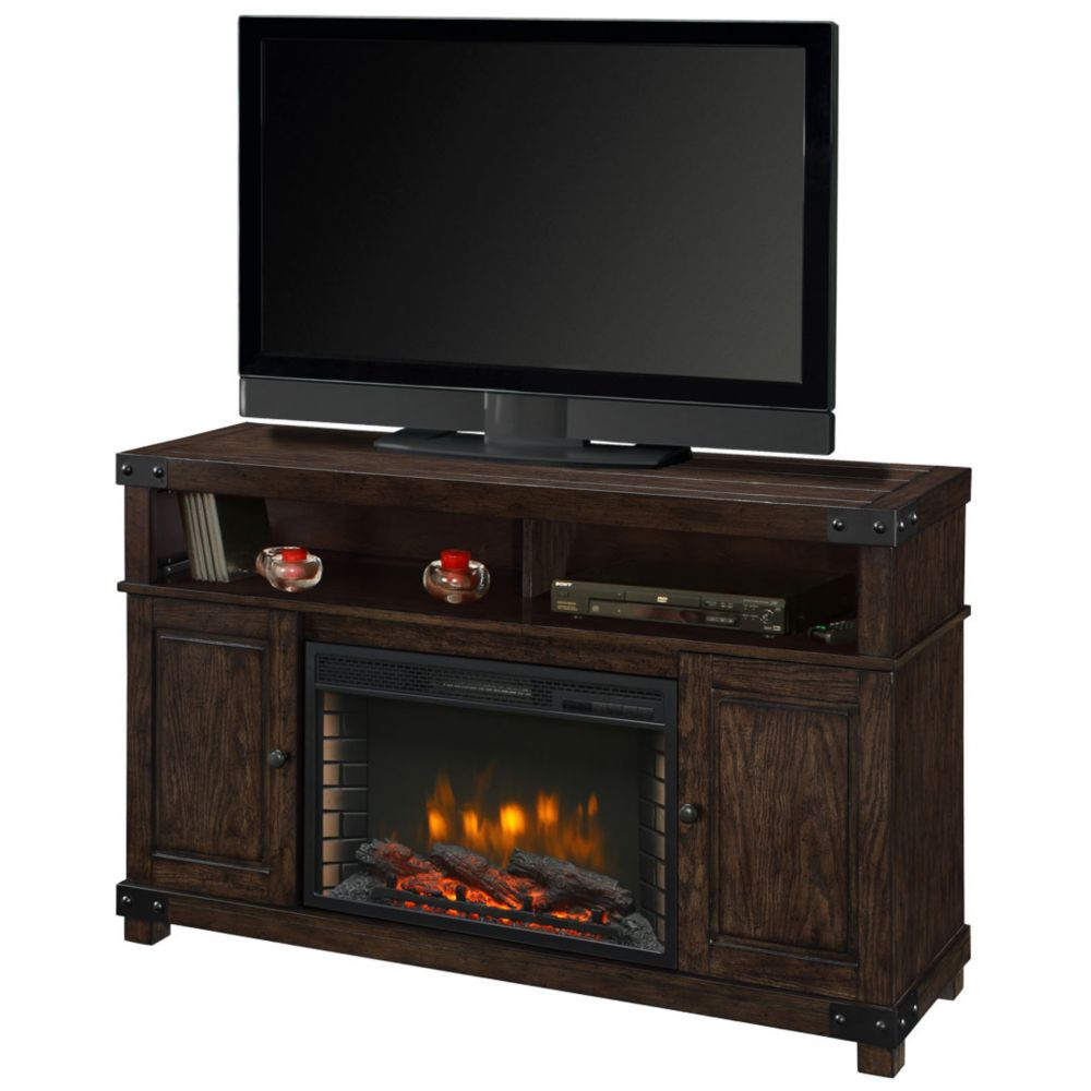 Hudson 53 Inch Media Fireplace in Rustic Brown