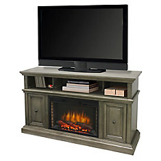 McCrea 58 Inch Media Electric Fireplace in Dark Weathered Grey Finish