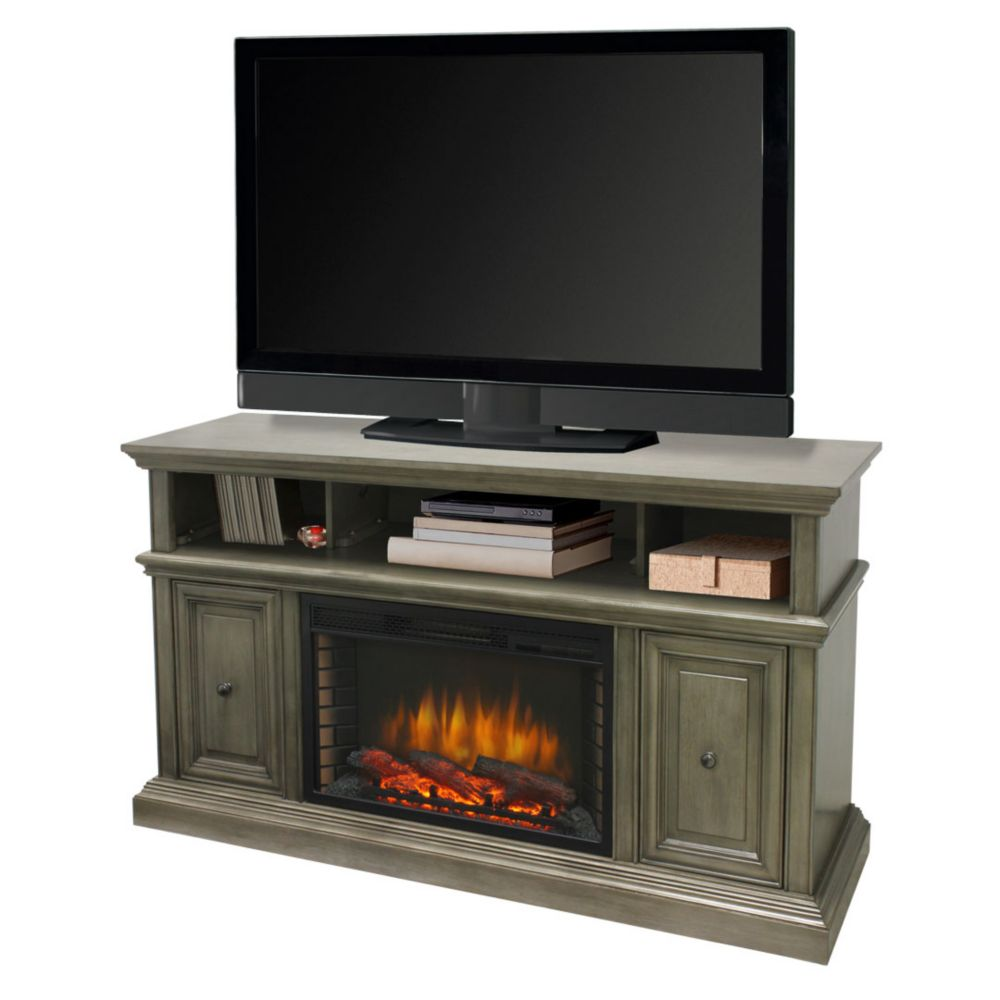 Muskoka McCrea 58 Inch Media Electric Fireplace in Dark Weathered Grey Finish