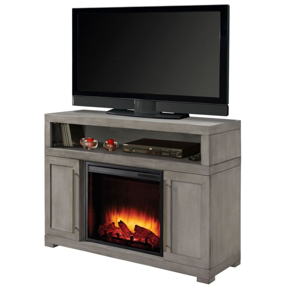 Mackenzie 48 Inch Media Electric Fireplace in Light Weathered Grey Finish