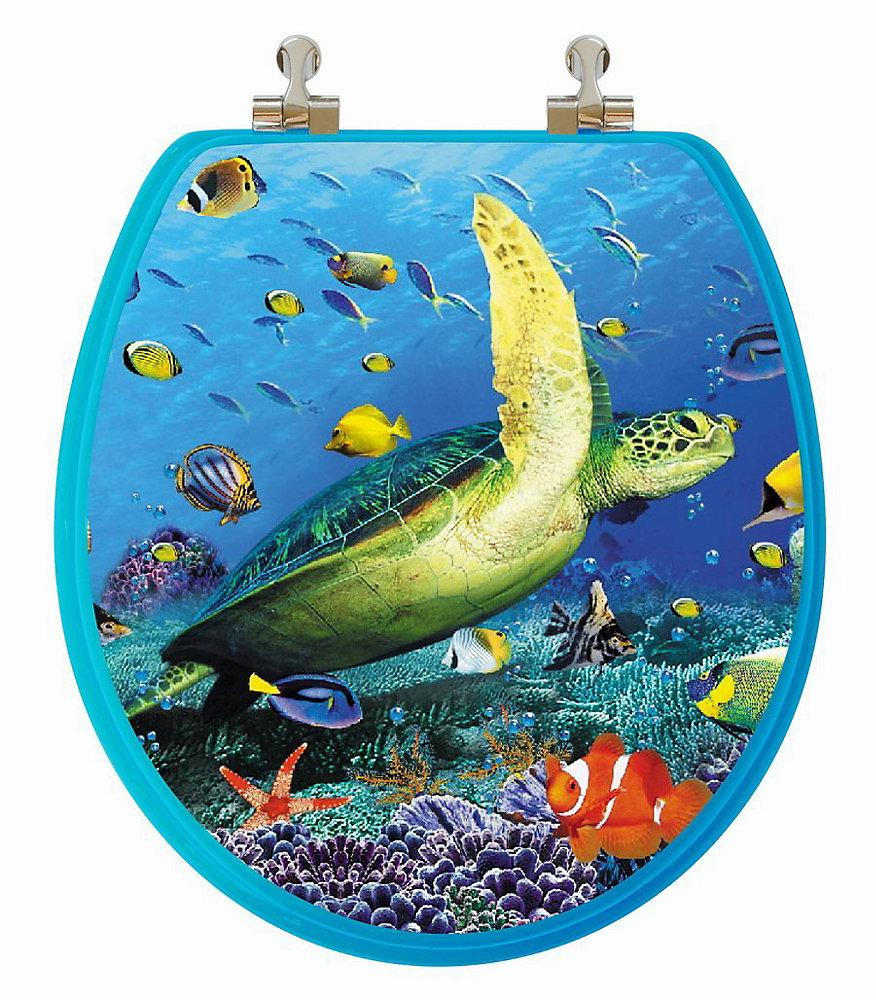 High Res 3D Image Sea Turtle Round, Regular Close. Chromed Metal Hinges