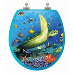 Topseat High Res 3D Image Sea Turtle Round, Regular Close. Chromed Metal Hinges