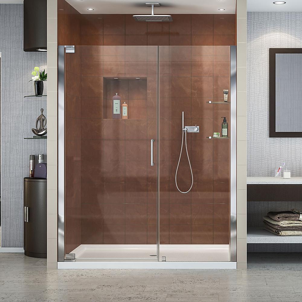 Elegance 60-inch x 36-inch x 74.75-inch Semi-Frameless Pivot Shower Door in Chrome with Left Drain White Acrylic Base