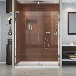 DreamLine Elegance 60-inch x 36-inch x 74.75-inch Semi-Frameless Pivot Shower Door in Chrome with Right Drain White Acrylic Base