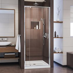 DreamLine Flex 32-inch x 32-inch x 74.75-inch Framed Pivot Shower Door in Chrome with Center Drain White Acrylic Base