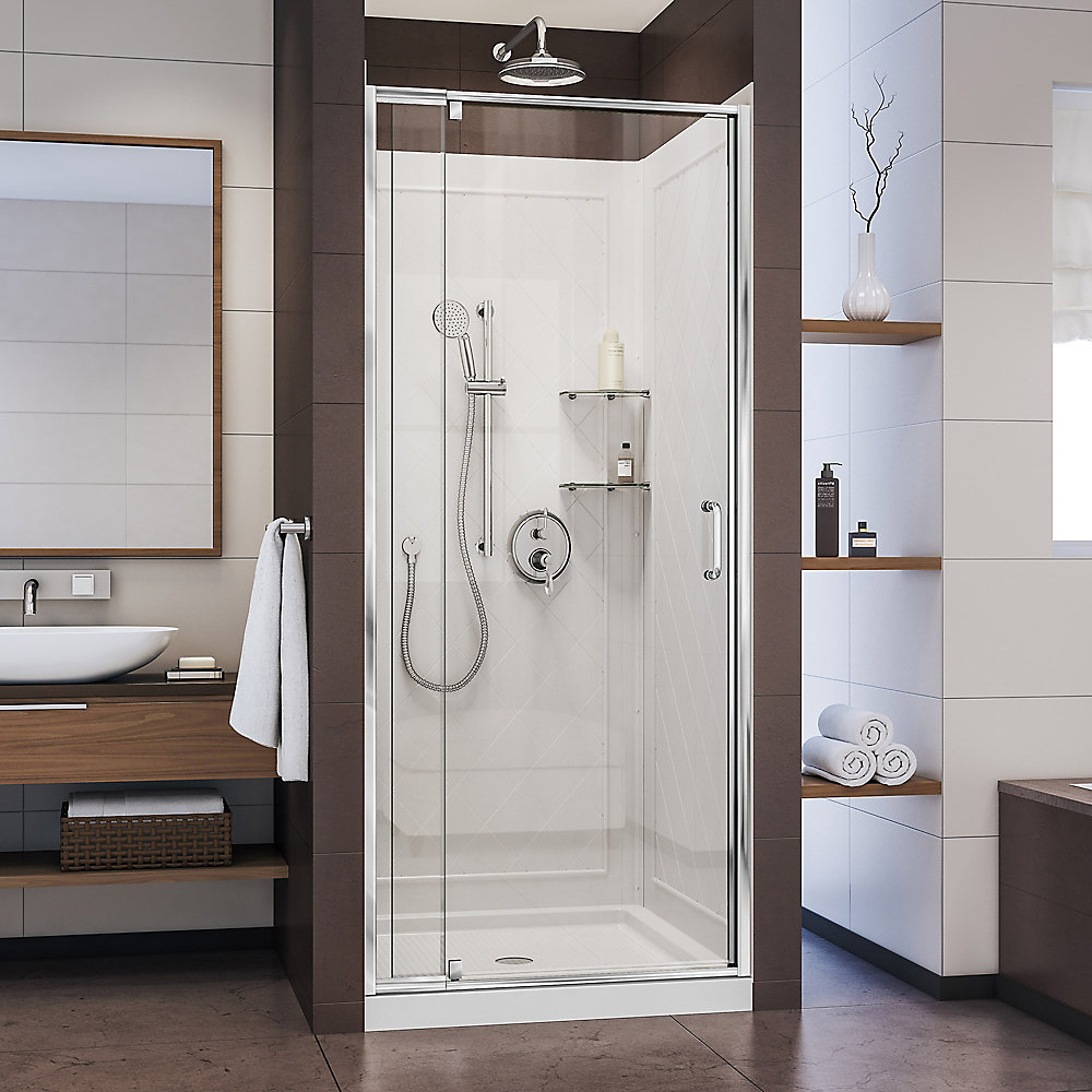 Flex 32-inch x 32-inch x 76.75-inch Pivot Shower Kit Door in Chrome with Center Drain White Acrylic Base and Back Walls Kit