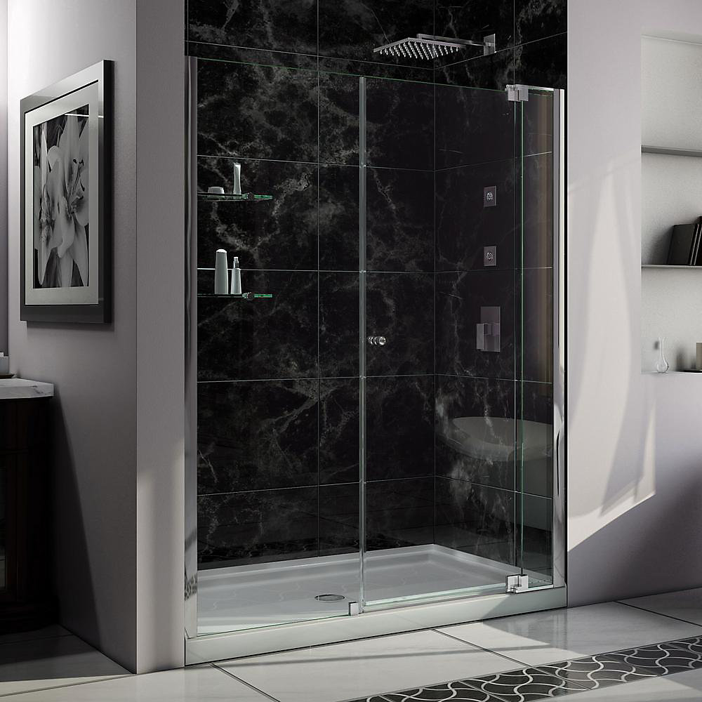 Allure 34-inch x 60-inch x 75.75-inch Semi-Frameless Pivot Shower Door in Chrome with Right Drain White Acrylic Base