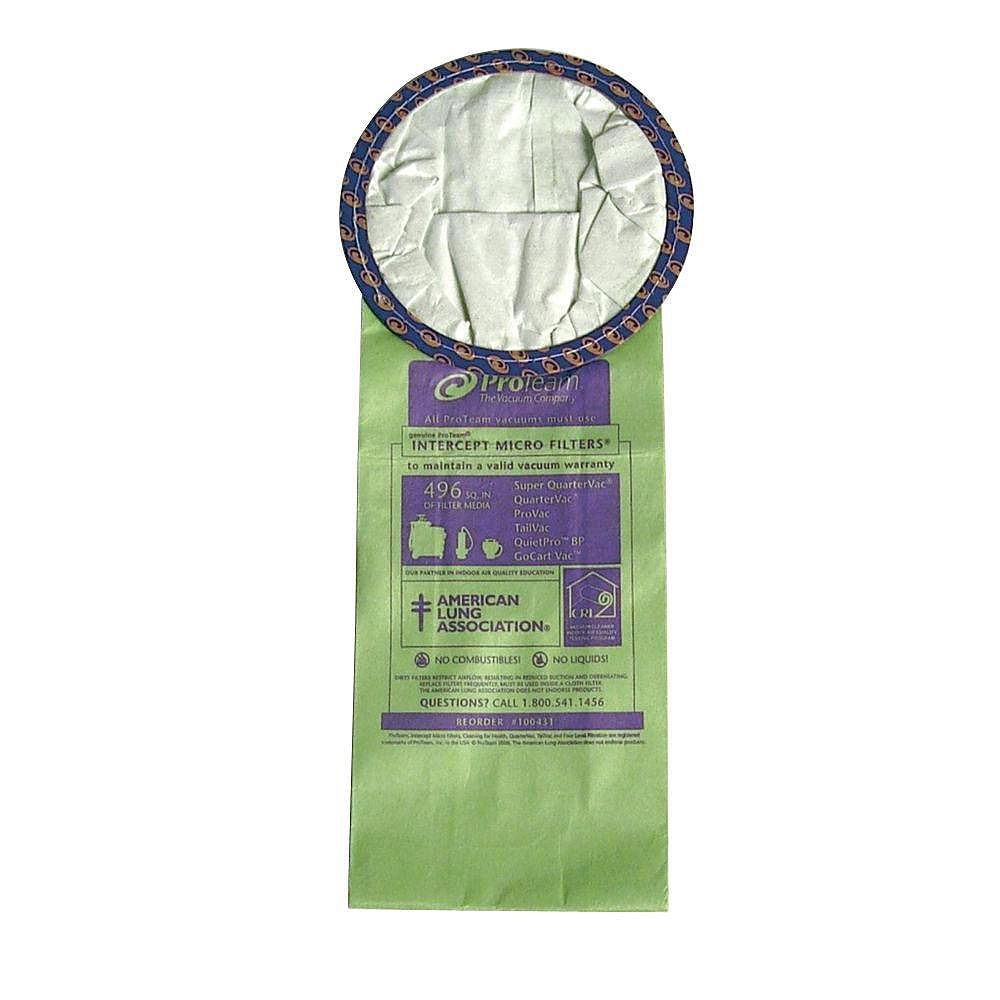 ProTeam Intercept Micro Filter Bag With Open Collar For Super QuarterVac Vacuum - (10-Pack)