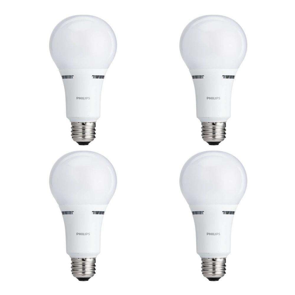 DEL domestique lampe à 3 intensités 50 / 100 / 150 W - Blanc doux (2 700 K) - Cas de 4 Ampoules