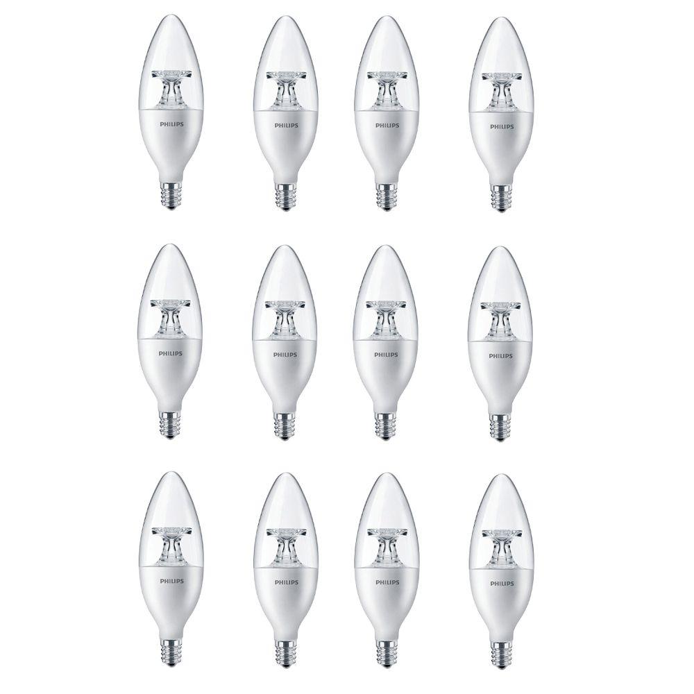 LED 40W Chandelier Candelabra Base Daylight (5000K) - Case of 12 Bulbs