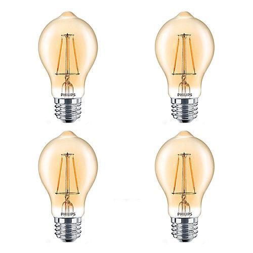 LED 60W A19 Filament Amber (2000K) - Case of 4 Bulbs