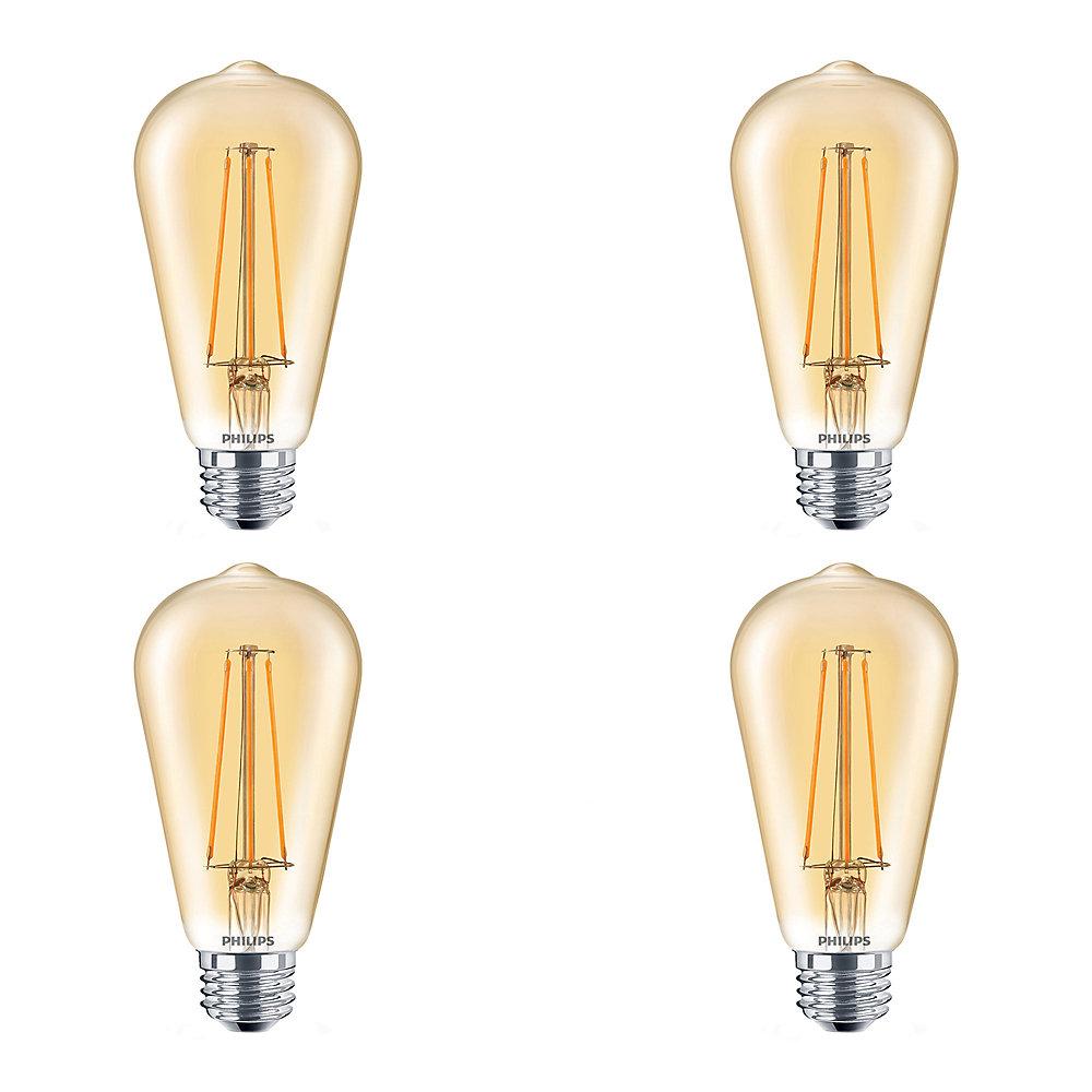 DEL 40W ST19 Vintage Filament Ambre (2 000 K) - Cas de 4 Ampoules