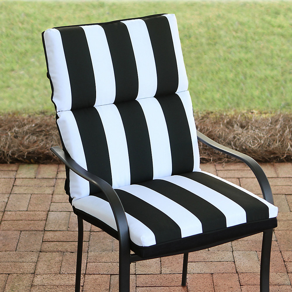 21 inch W x 20 inch D x 24 inch H Highback Patio Cushion in Black Cabana Stripe