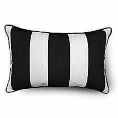 Outdoor Lumbar Pillow in Black Cabana Stripe