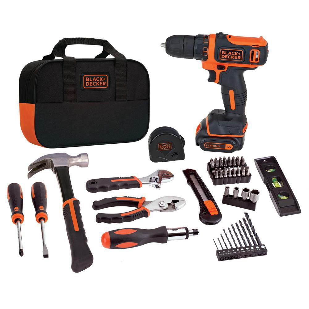Black & Decker BLACK+DECKER BDCDD12PK Drill Project Kit, 12V