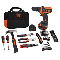 BLACK+DECKER 12V MAX Lithium-Ion Cordless Project Kit (57-Piece) with Battery 1.5Ah, Charger and Tool Bag