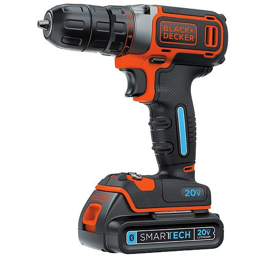 BLACK+DECKER SMARTECH 20V MAX Lithium-Ion Cordless Single Speed Drill/Driver with Battery