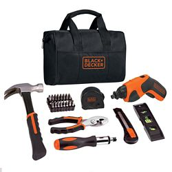 BLACK+DECKER 4V MAX Li-Ion Cordless Rechargeable Screwdriver Project Kit (43-Piece) with Charger and Tool Bag