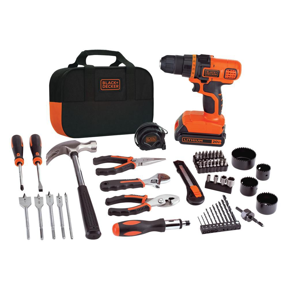 Black & Decker 20V MAX Lithium-Ion Cordless Drill and Project Kit with Battery, Charger and Bag