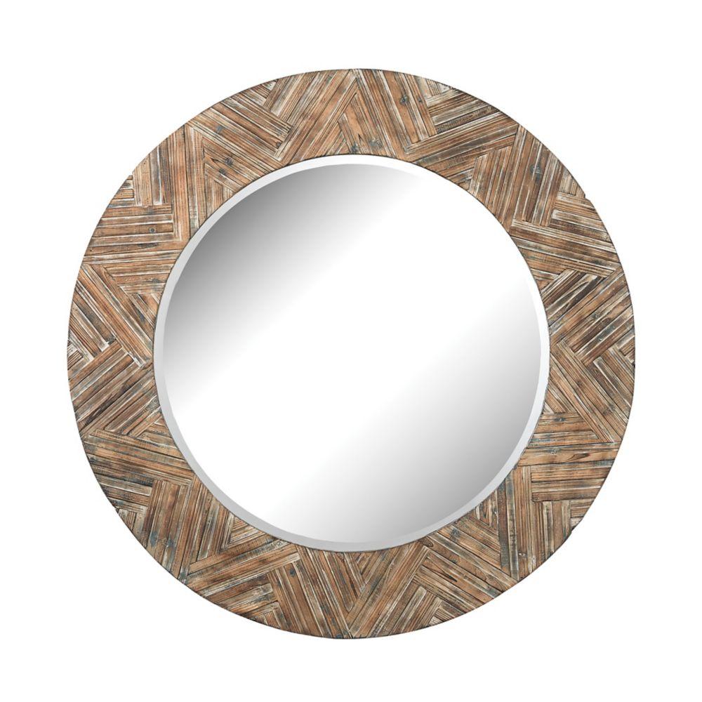 Large Round Wicker Mirror