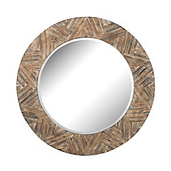Titan Lighting Large Round Wicker Mirror