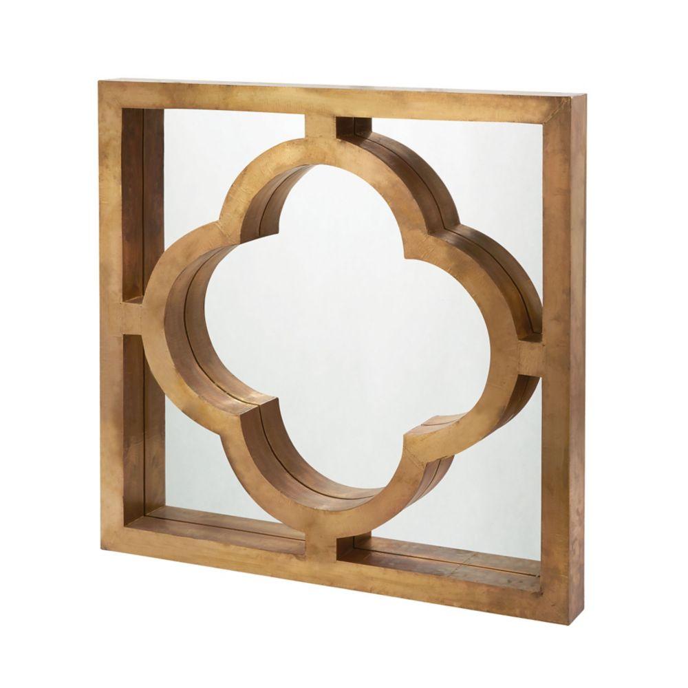 Miroir habillé de laiton quatrefoil