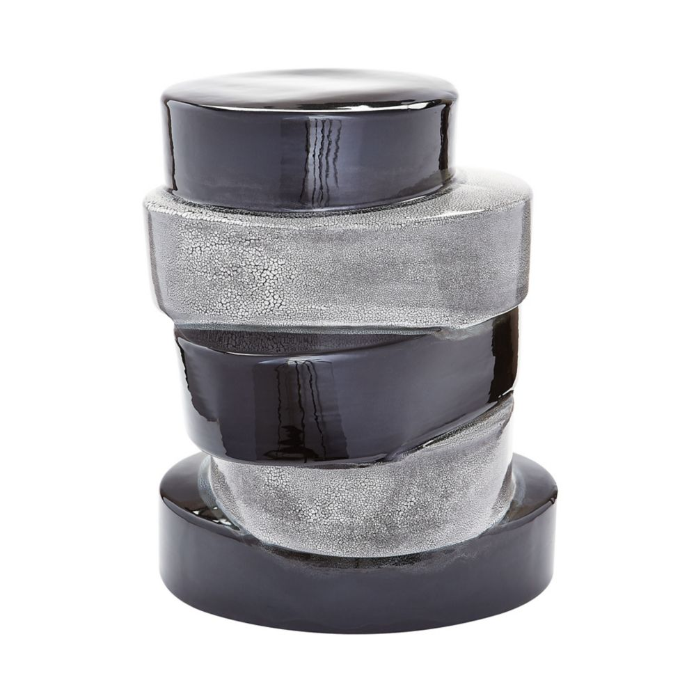 Stacked Ovals Side Table  In Black And Grey