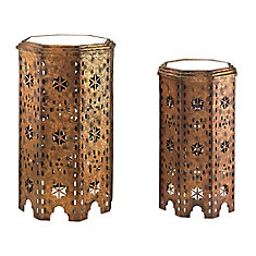 Moroccan Side Table With Mirrored Tops (Set of 2)