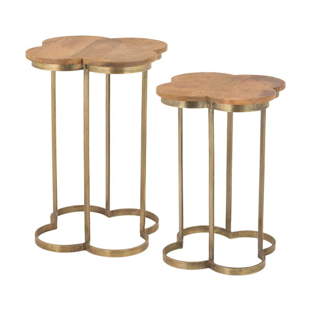 Gold Leaf Quatrafoil Accent Table