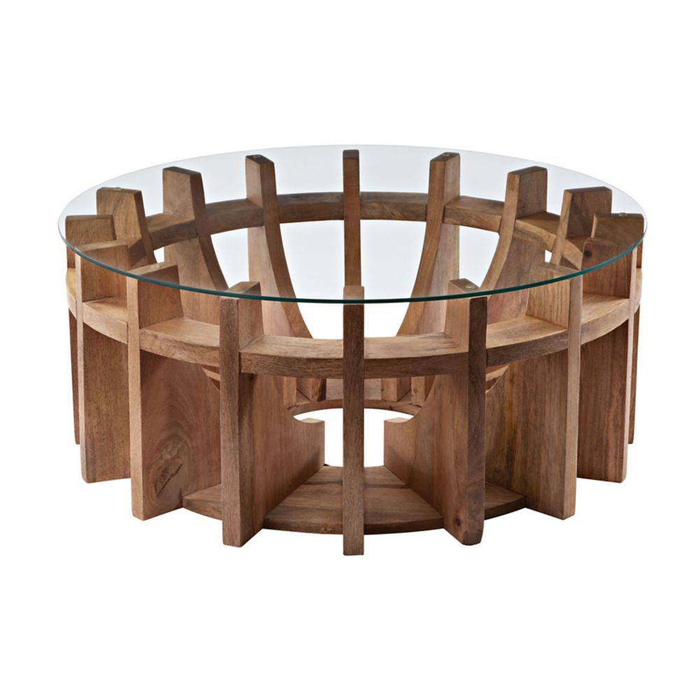 Wooden Sundial Coffee Table