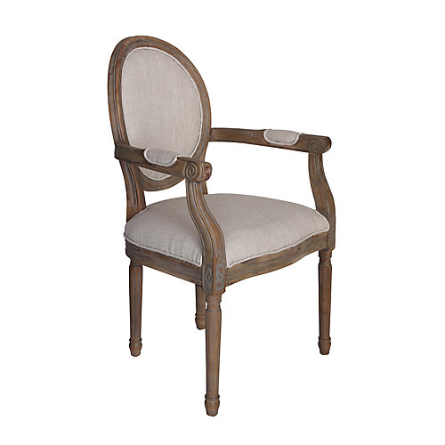 Allcorr Solid Wood Beige Dining Chair