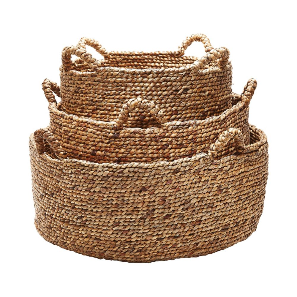 Natural Low Rise Baskets- Set Of 3