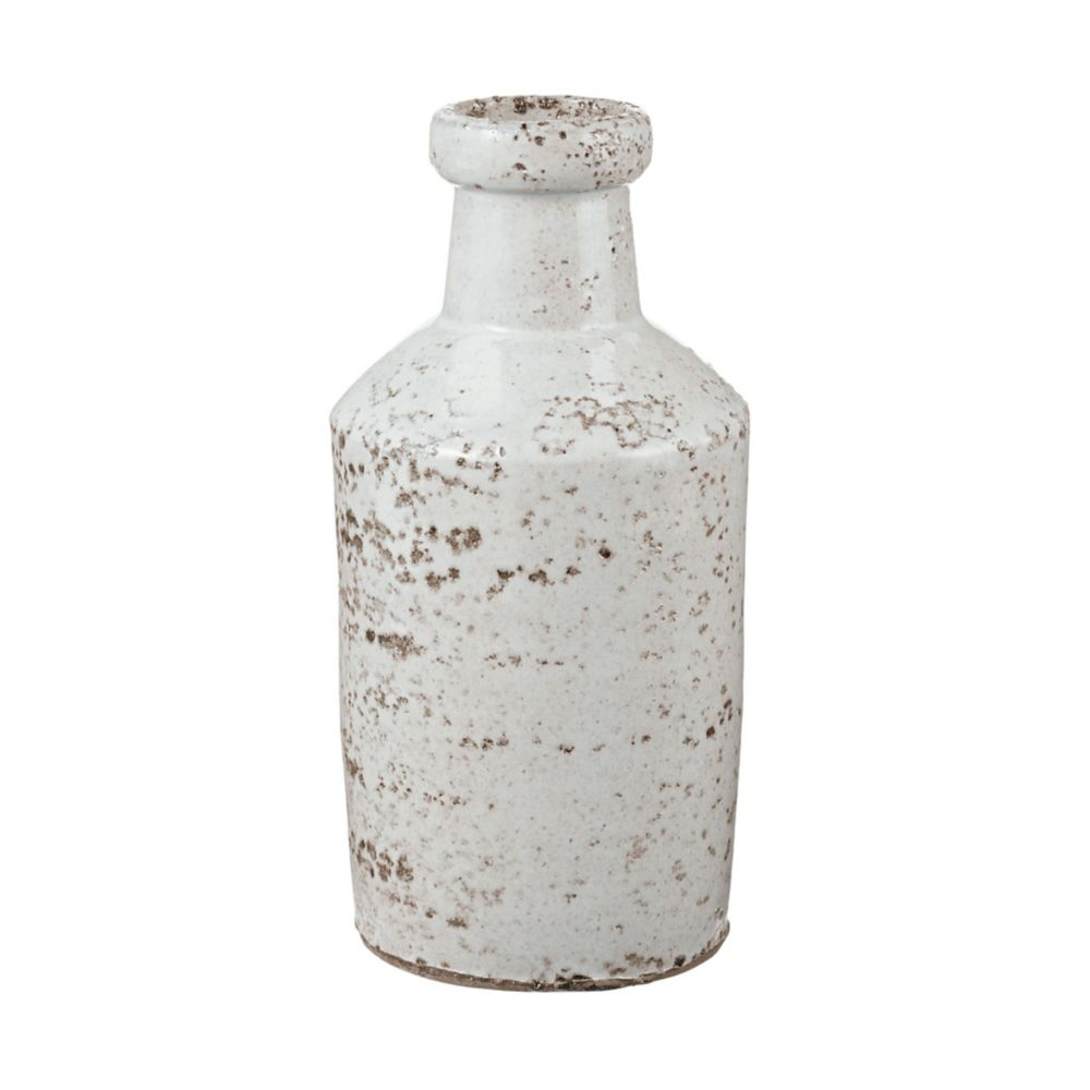 Rustic White Milk Bottle