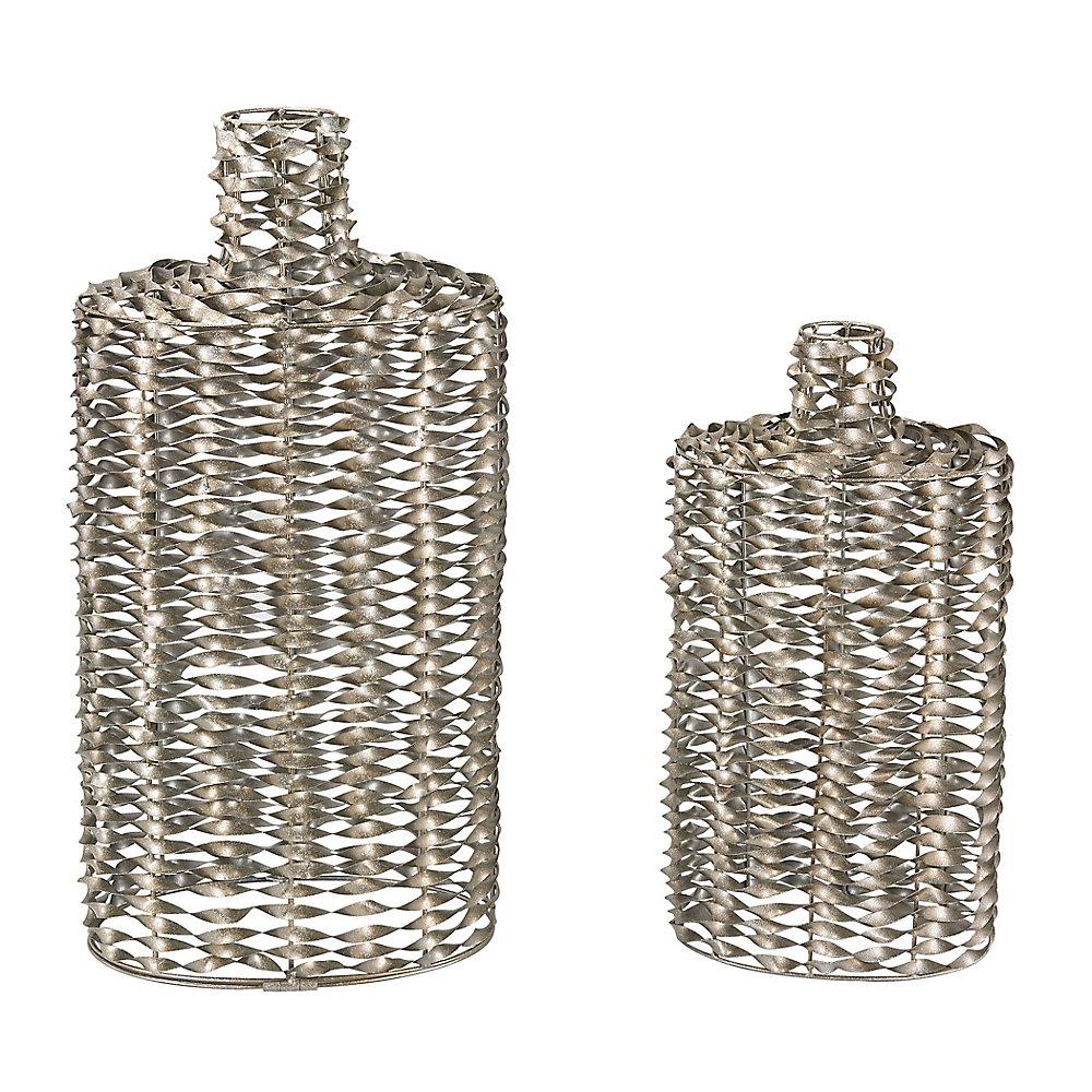 Metal Work Vases (Set of 2)