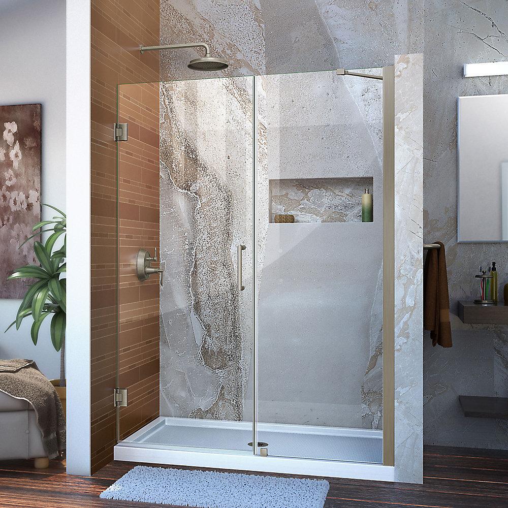 DreamLine Unidoor 132 cm x 183 cm Porte de douche Articulée Sans cadre, fini Nickel Brossé