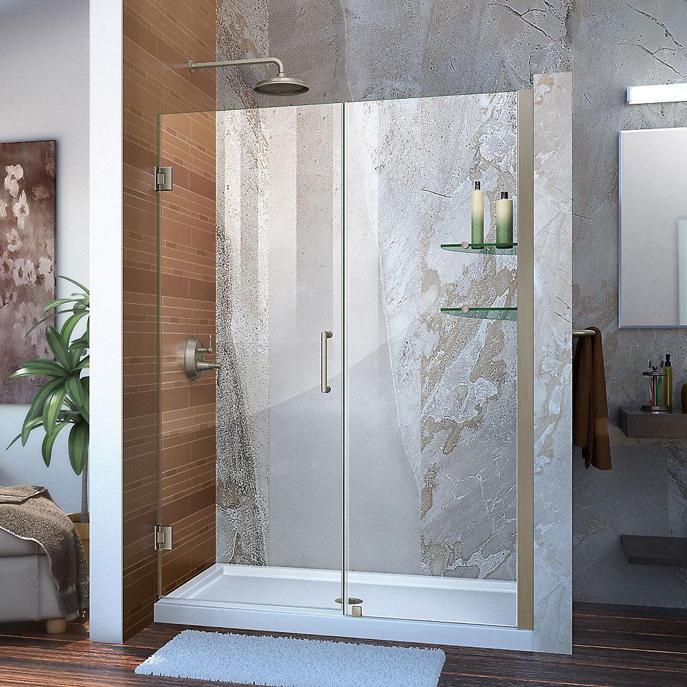 Unidoor 52 to 53-inch x 72-inch Frameless Hinged Pivot Shower Door in Brushed Nickel with Handle