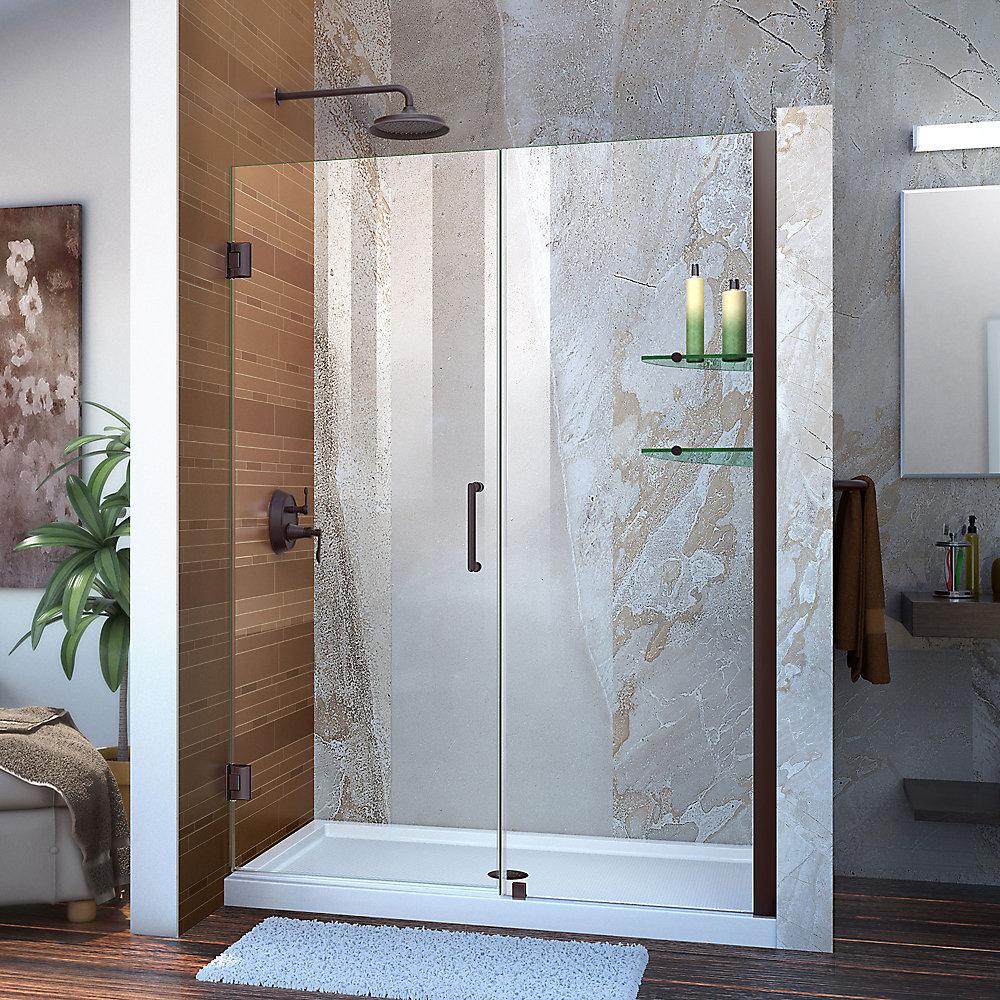 Unidoor 52 to 53-inch x 72-inch Frameless Hinged Pivot Shower Door in Oil Rubbed Bronze with Handle