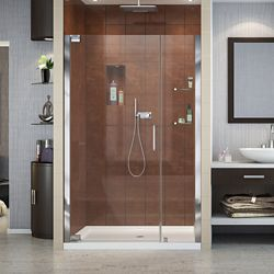 DreamLine Elegance 40-3/4-inch to 42-3/4-inch x 72-inch Semi-Frameless Pivot Shower Door in Chrome