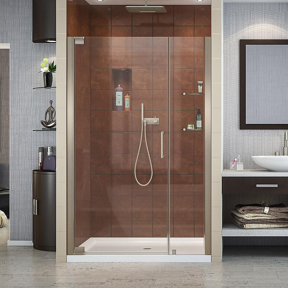 Elegance 47-3/4-inch to 49-3/4-inch x 72-inch Semi-Frameless Pivot Shower Door in Brushed Nickel