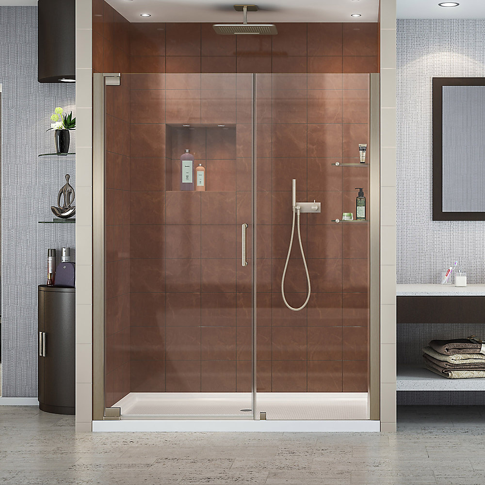 Elegance 59-3/4-inch to 61-3/4-inch x 72-inch Semi-Frameless Pivot Shower Door in Brushed Nickel