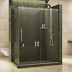 Enigma 36-inch x 60-1/2-inch x 79-inch Fully Frameless Sliding Shower Enclosure in Brushed Stainless Steel, 1/2-inch Glass