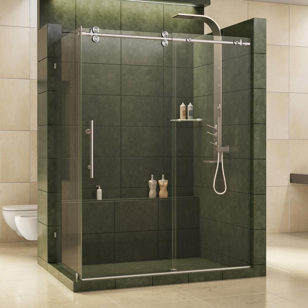 DreamLine Enigma 36-inch x 60-1/2-inch x 79-inch Fully Frameless Sliding Shower Enclosure in Brushed Stainless Steel, 1/2-inch Glass