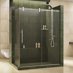 DreamLine Enigma 36-inch x 60-1/2-inch x 79-inch Fully Frameless Sliding Shower Enclosure in Polished Stainless Steel, 1/2-inch Glass